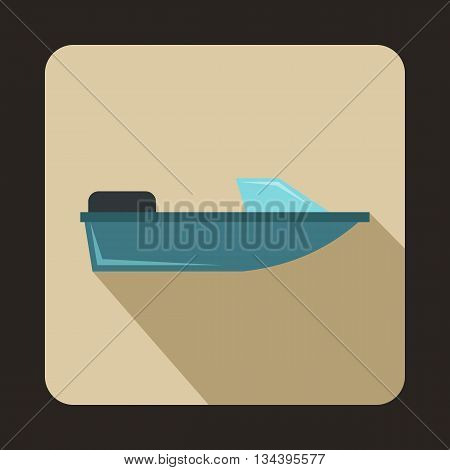 Sports powerboat icon in flat style with long shadow. Sea transport symbol