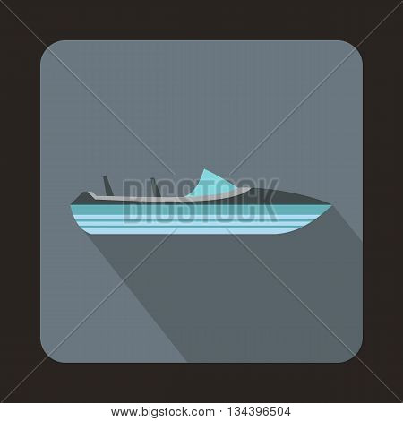 Little powerboat icon in flat style with long shadow. Sea transport symbol