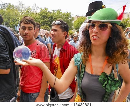 Istanbul Turkey - June 5 2013: Taksim Gezi Park protest the animators and clown show. A wave of demonstrations and civil unrest in Turkey began on 28 May 2013 initially to contest the urban development plan for Istanbul's Taksim Gezi Park. The protests we