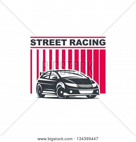 Sport car logo template illustration on white background.