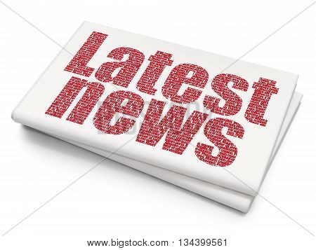 News concept: Pixelated red text Latest News on Blank Newspaper background, 3D rendering