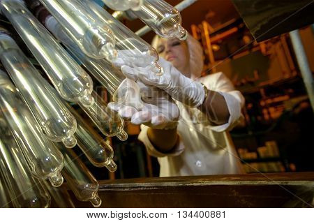 Armavir, Russia - December 01, 2005:Plant for the production of condoms.