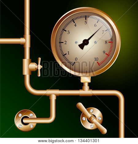 steam powered traction engine boiler pressure gauge on green background