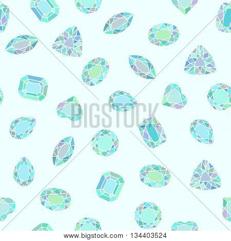 Diamond cut shapes. Blue and green. Seamless pattern. Heart, drop, emerald, oval, round shapes. Abstract hand drawn pattern with gemstones. Light background. For decoration or printing on fabric.