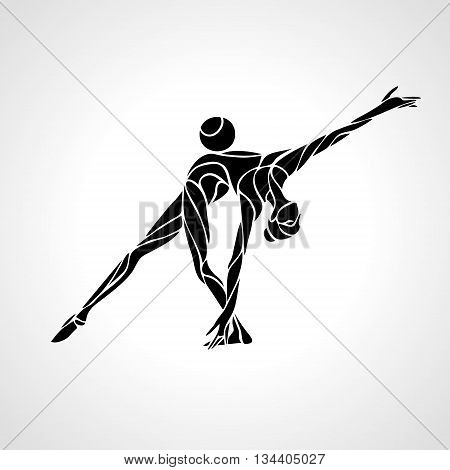Creative silhouette of gymnastic girl. Art gymnastics with ball, black and white vector illustration