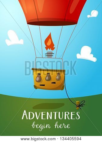 Aeronautics hot air balloon basket ready to fly up into the sky. Surrounded with some white clouds. Vector illustraion for print and web design.