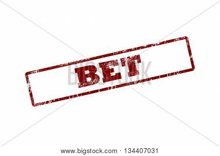 bet red Rubber Stamp over a white background.
