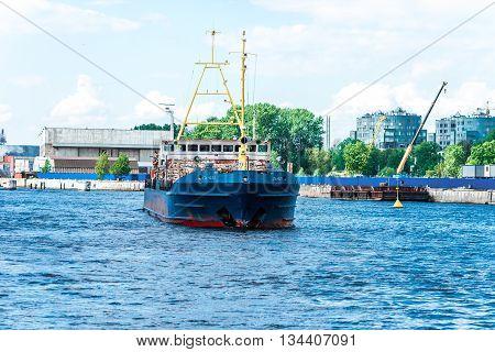 Lumber Carrying Vessel On Neva River