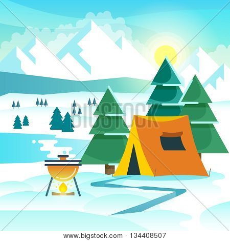 Winter hiking vector background with tent and bonfire. Hiking winter, travel hiking adventure, tourism hiking outdoor illustration