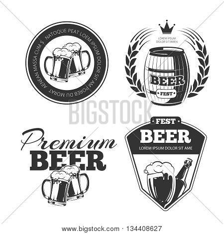 Beer festival vector emblems, labels, badges, logos set. Bottle beer label, pub beer label, beverage beer badge illustration poster