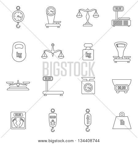 Linear scales and weight vector icons set. Scale digital, weight kilogram, load weight, scale gear, equilibrium scale, balance scale illustration