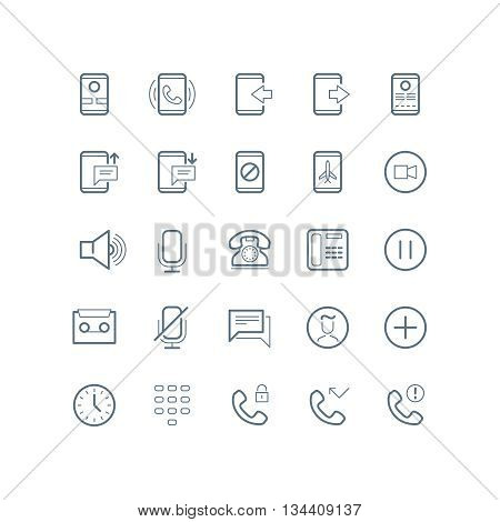 Phone, devices and communication vector line icons. Communication phone, communication  technology icon, media digital communication, smartphone communication icon illustration