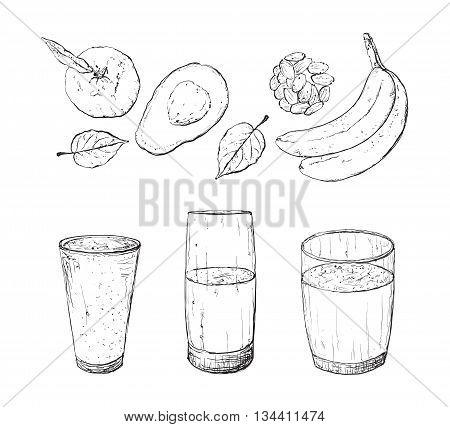 Vector illustration of vegan detox smoothie. Healthy drink made of avokado, nuts. banana, berries and mint. poster