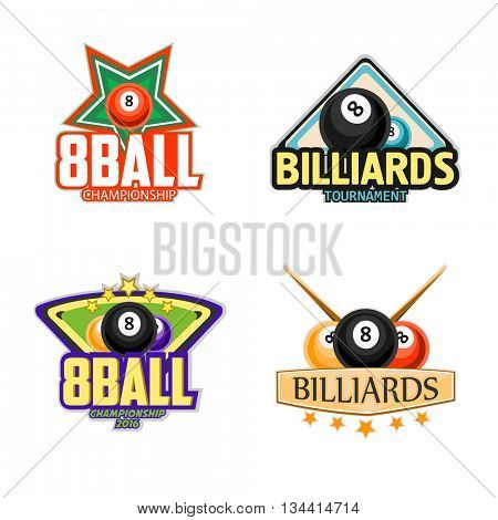 Billiard logo set. Billiards, pool and snooker sport icons for poolroom emblems design with balls, cues, tables. Vector illustration.