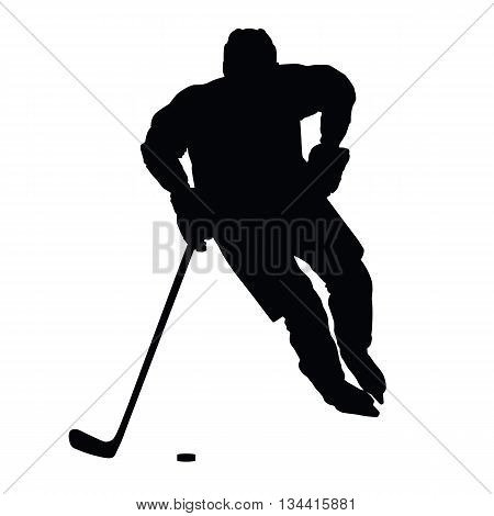 Hockey player vector silhouette front view ice hockey winter sport isolated ice hockey player
