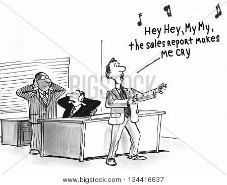 Business cartoon about a salesman singing about reduced sales.