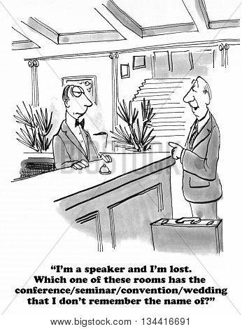 Business cartoon about a helpless, confused speaker.