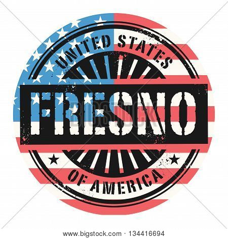 Grunge rubber stamp with the text United States of America, Fresno, vector illustration
