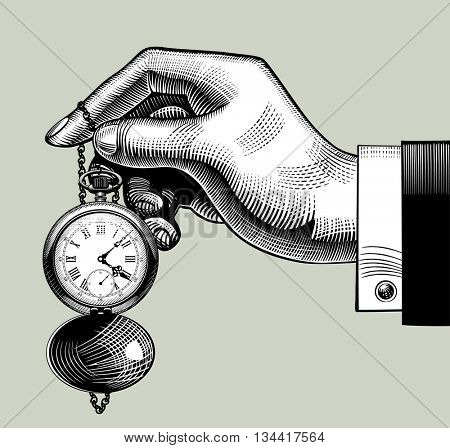 Hand with an old clock. Retro pocket watch. Vintage engraving stylized drawing. Vector Illustration
