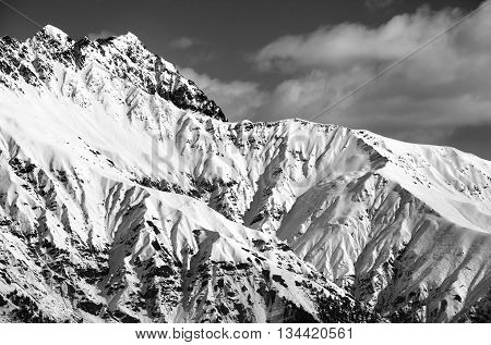 Black And White Snowy Sunlight Mountains At Nice Day