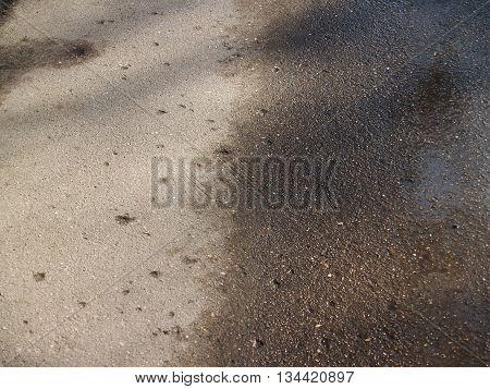 Sunlit wet aging scratched corrugated asphalt background