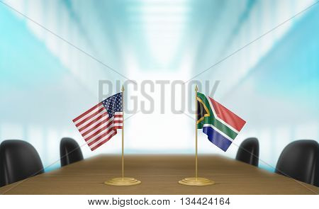 United States and South Africa relations and trade deal talks, 3D rendering