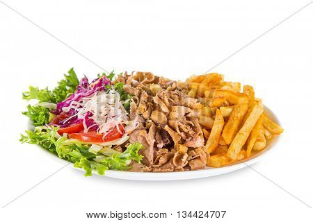 Kebab sandwich on white plate isolated