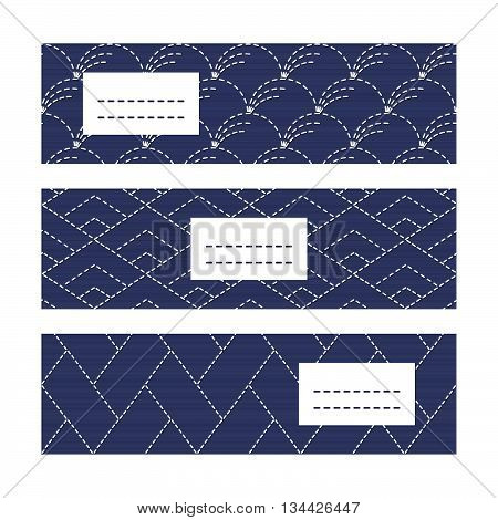 Horizontal Banners. Japanese Embroidery motifs. Classic sashiko motif with copy space for text. Japanese quilting cards. Text frame. Japanese Antique fancywork theme.