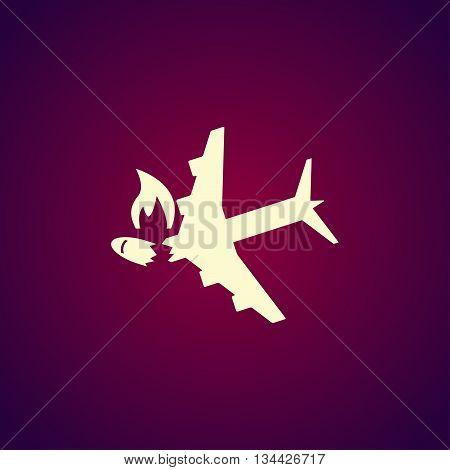 Airplane Crash Vector Icon.