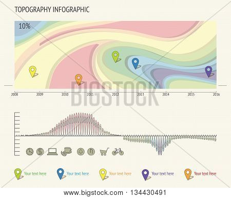 Set of Infographic Elements. Geodesic map and Information Graphics