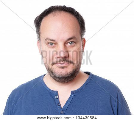 middle aged man with stubble isolated on white