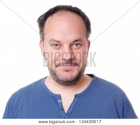 smiling middle aged man with stubble isolated on white
