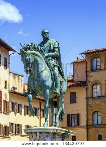 Cosimo Medici's statue on the Piazza della Signoria by Giambologna by day in Florence, Italy.