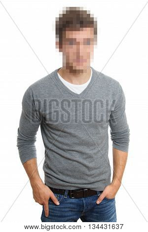 pixelated face to preserve anonymity isolated on white
