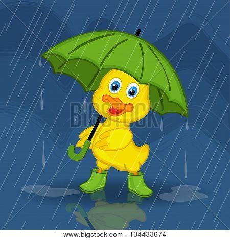 duckling hiding from rain under umbrella - vector illustration, eps