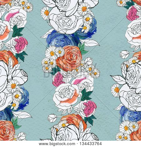 Seamless pattern with peony and chamomile flowers. Floral seamless watercolor background. Flower seamless pattern. Seamless floral garlands