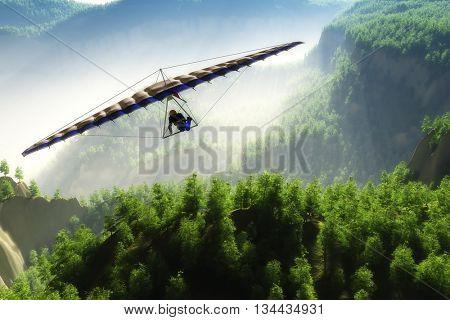 Glider flight over the landscape.3D render