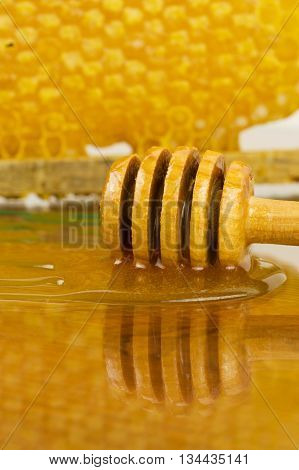 Natural floral honey. honey comb and honey flowing.