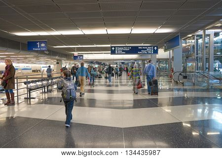 CHICAGO - MARCH 22, 2016: inside of O'Hare International Airport. O'Hare is a major hub for American Airlines and United Airlines, as well as a hub for regional carrier Air Choice One.
