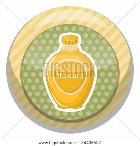 Mustard colorful icon. Vector illustration in cartoon style