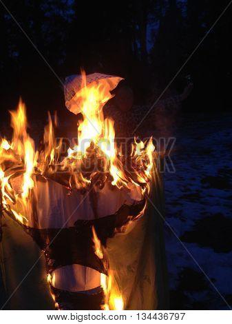 the burning of effigies on the celebration of the feast of Shrovetide