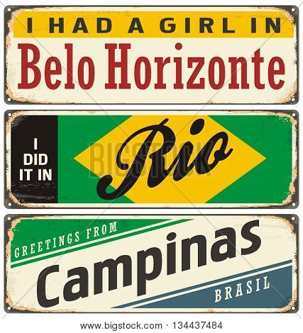 Retro tin sign collection with cities in Brazil. Vintage vector souvenir sign or postcard templates with travel theme. Places to visit and remember.