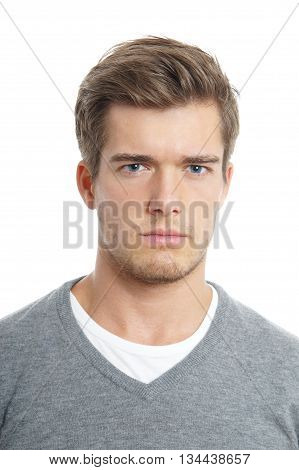 angry young man isolated on white background
