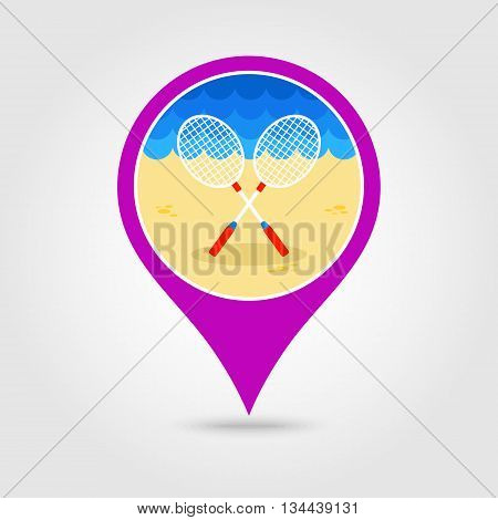 Badminton Racket vector pin map icon. Beach Map pointer. Summer Map markers. Holiday. Summertime. Vacation eps 10