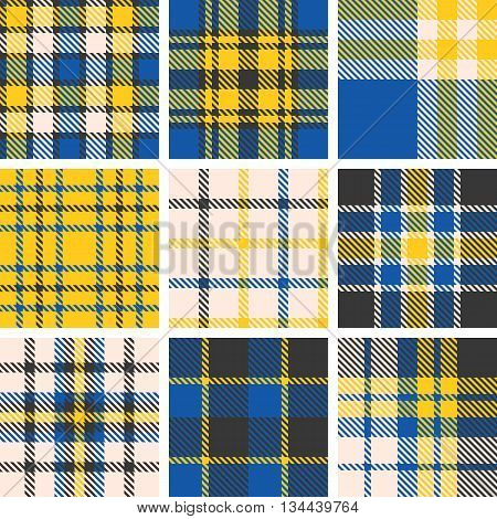 set of tartan seamless pattern, checkered pattern, plaid pattern, vintage style set 5
