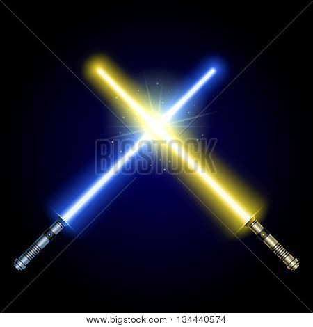 Two Crossed Light Swords Fight. yellow and Blue Crossing Lasers. Design Elements for Your Projects. modern light swords on dark background. Vector illustration.