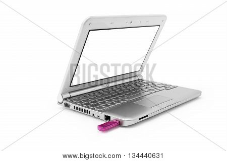 silver netbook with white monitor and pink usb on a white background isolated
