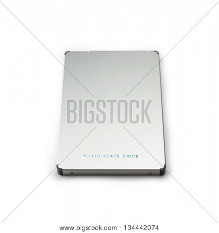 SSD or Solid State Drive used in most recent computers isolated on white. Silver SSD drive with blue lettering. Focus on front edge.