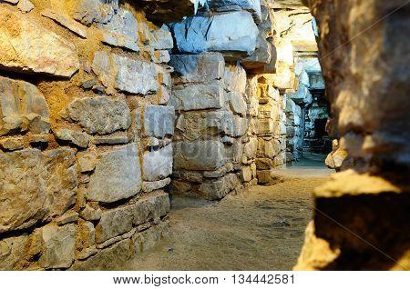 South America The Ruins of the Wari (Huari) Culture in Chavin de Huantar a major pre-Inca culture. The site is located in the Ancash Region of Peru.