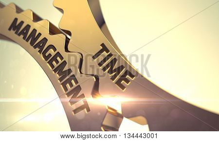 Golden Cog Gears with Time Management Concept. Time Management - Illustration with Lens Flare. Time Management - Concept. Time Management - Technical Design. 3D Render.